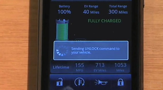 Screencap showing the Chevrolet Volt app for Android