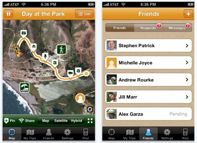 Screencaps from the TripCast iPhone app from Jeep