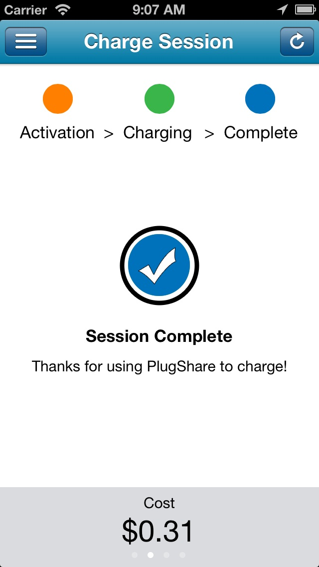 Screenshot from Pay With PlugShare app for electric-car charging