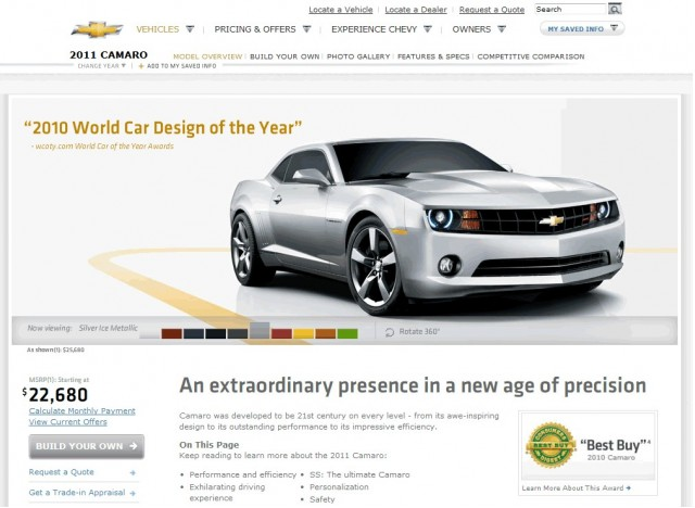 Screenshot of 2011 Camaro Site