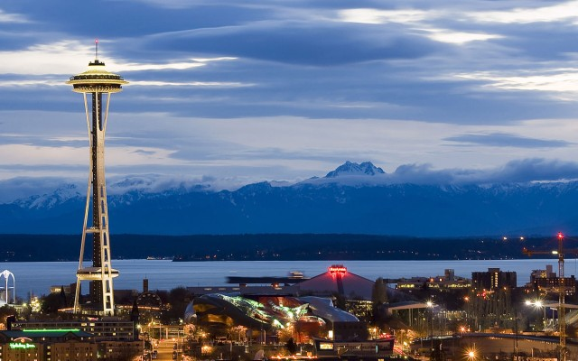 Seattle Center as night falls (photo by Jeffery Hayes)