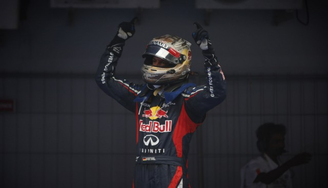 Sebastian Vettel after winning the 2012 Formula 1 Indian Grand Prix