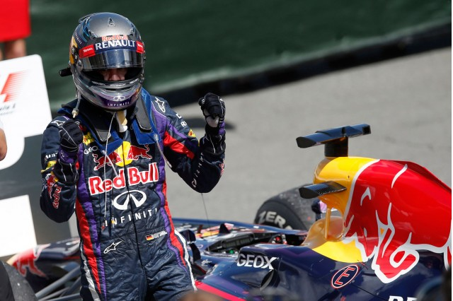 Sebastian Vettel after winning the 2013 Formula One Canadian Grand Prix