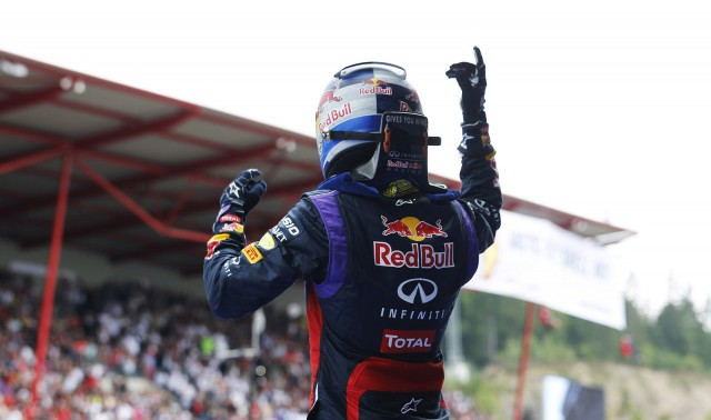 Sebastian Vettel after winning the 2013 Formula One Italian Grand Prix