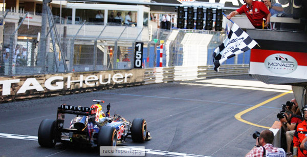 Sebastian Vettel taking the checkered flag at the 2011 Monaco Grand Prix