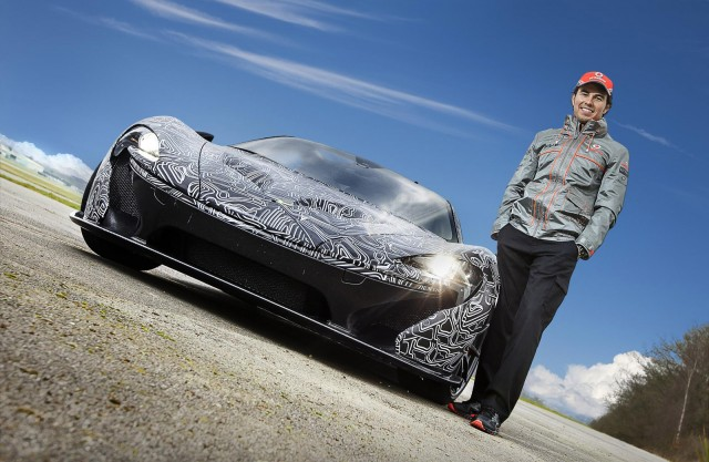Sergio Perez and a prototype for the McLaren P1