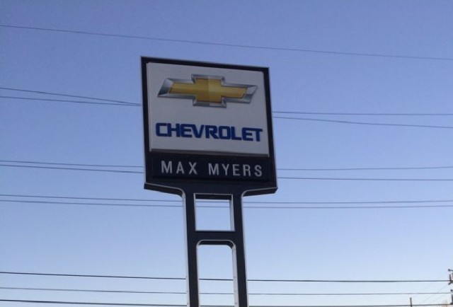 Sign at Max Myers Chevrolet in Middlebury, Indiana  [photo: Tiffany Raim]