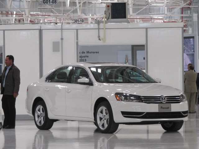 2013 Volkswagen Jetta Hybrid at opening of Volkswagen enine plant in Silao, Mexico