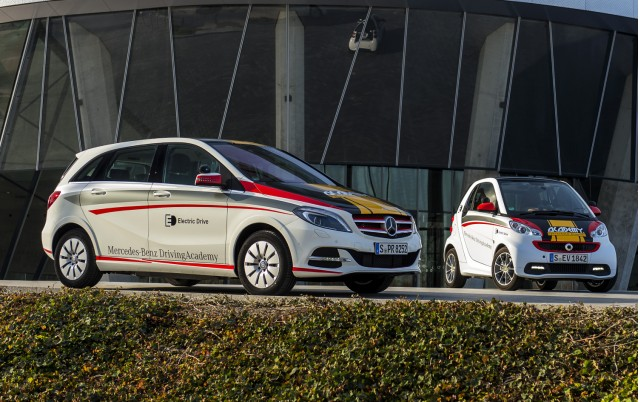 Smart Fortwo Electric Drive and Mercedes-Benz B-Class Electric Drive at driving school.