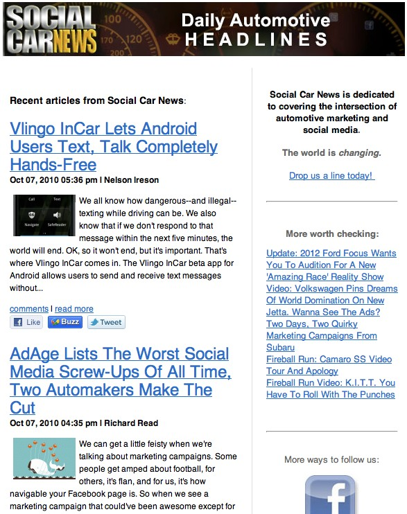Social Car News Daily Email