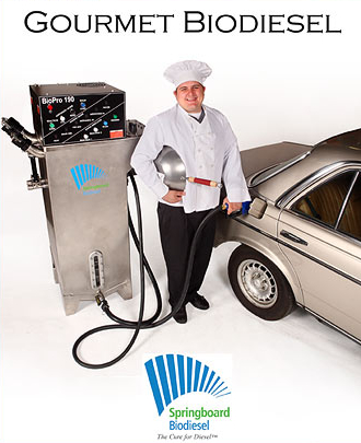 Springboard Biodiesel markets the BioPro to restaurants. Image: Springboard Biodiesel
