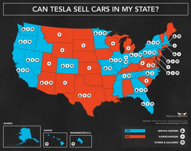 State map showing where Tesla Motors can (blue) and can't (red) sell cars [Mojo Motors, Nov 2014]