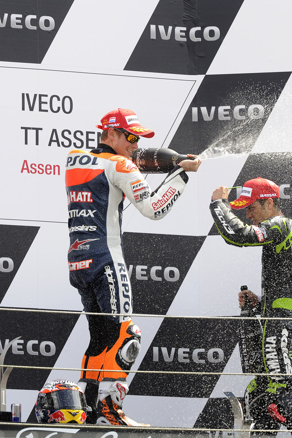 Stoner sprays Dovizioso on Assen MotoGP podium- Bridgestone photo