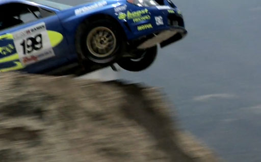 Subaru rally car jumps