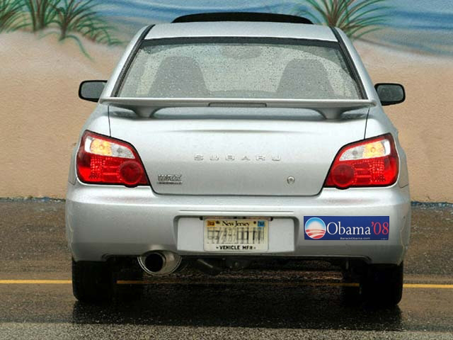 Subaru WRX with Obama-Biden bumper sticker