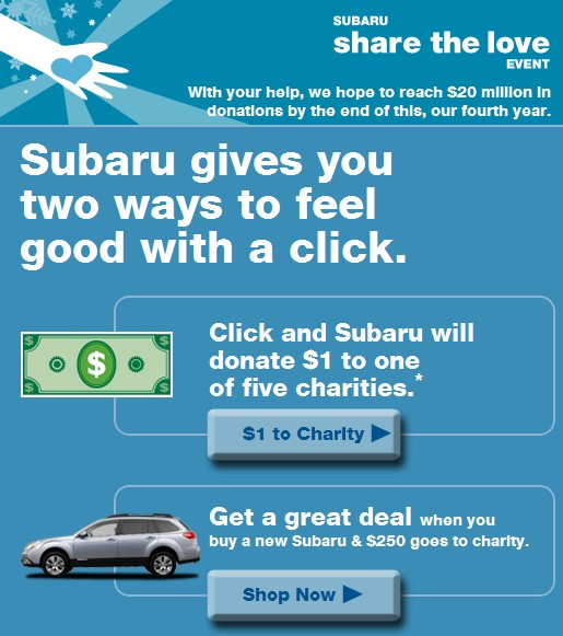 Subaru Shares The Love With Five Charities Through January 3