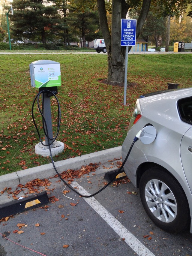 Sun Country Highway electric-car charging station, Burnaby, BC, Canada [photo: Matthew Klippenstein]