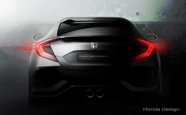 Teaser for 10th-generation Honda Civic Hatchback prototype debuting at 2016 Geneva Motor Show
