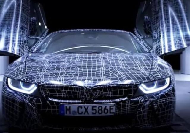 Teaser for BMW i8 Roadster debuting in 2018