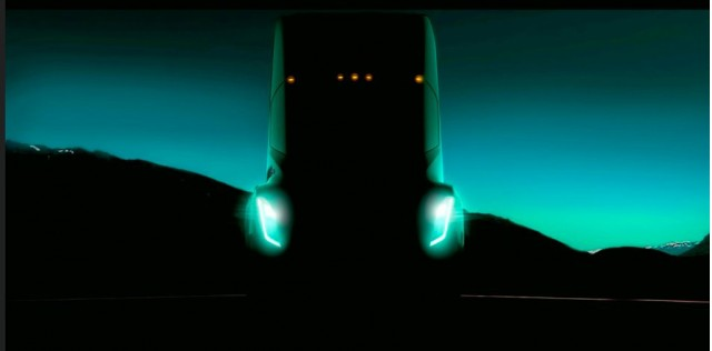 Teaser for Tesla semi truck debuting in September