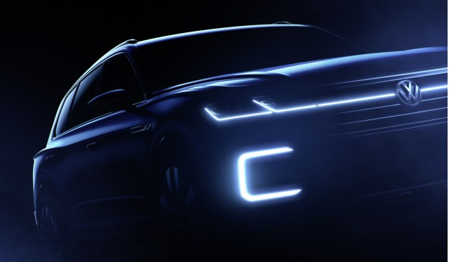 Teaser for Volkswagen SUV concept debuting at 2016 Beijing Auto Show