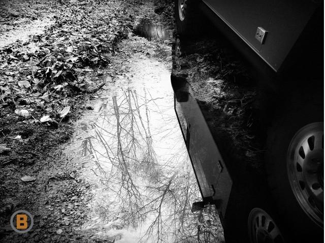 Teaser shot of Bollinger electric off-road utility truck
