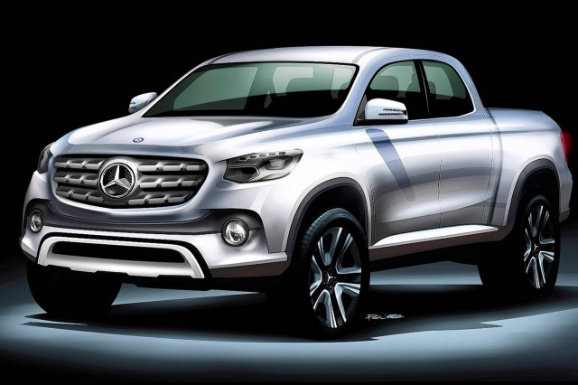 Teaser sketch for potential Mercedes-Benz pickup truck