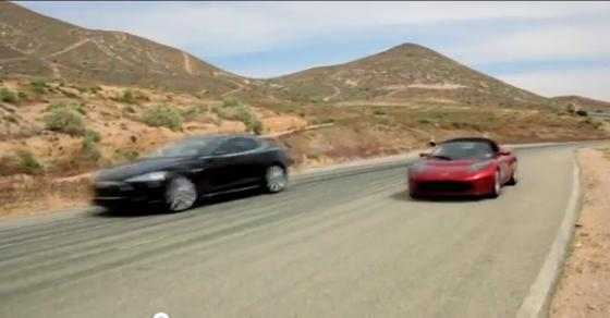 Tesla all-electric Model S sedan and Roadster sports car shown together on video