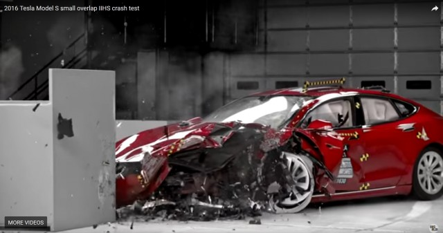 Tesla Model S after IIHS small-overlap frontal crash test, Spring 2017 [frame from IIHS video]