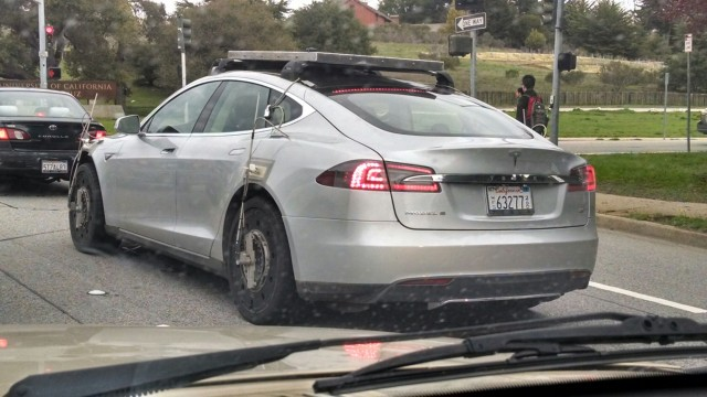 Tesla Model S all-wheel-drive prototype testing in California, March 2014