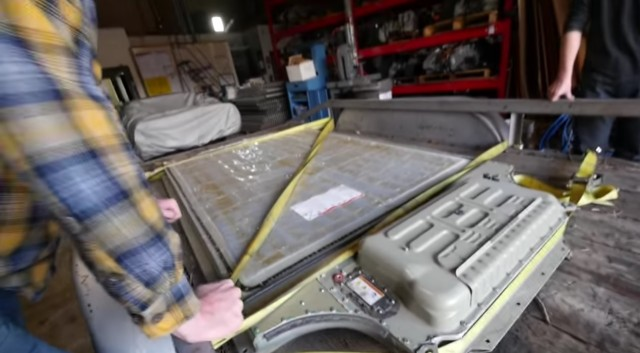 Tesla Model S battery pack teardown: frame from YouTube video by JehuGarcia, Feb 2017