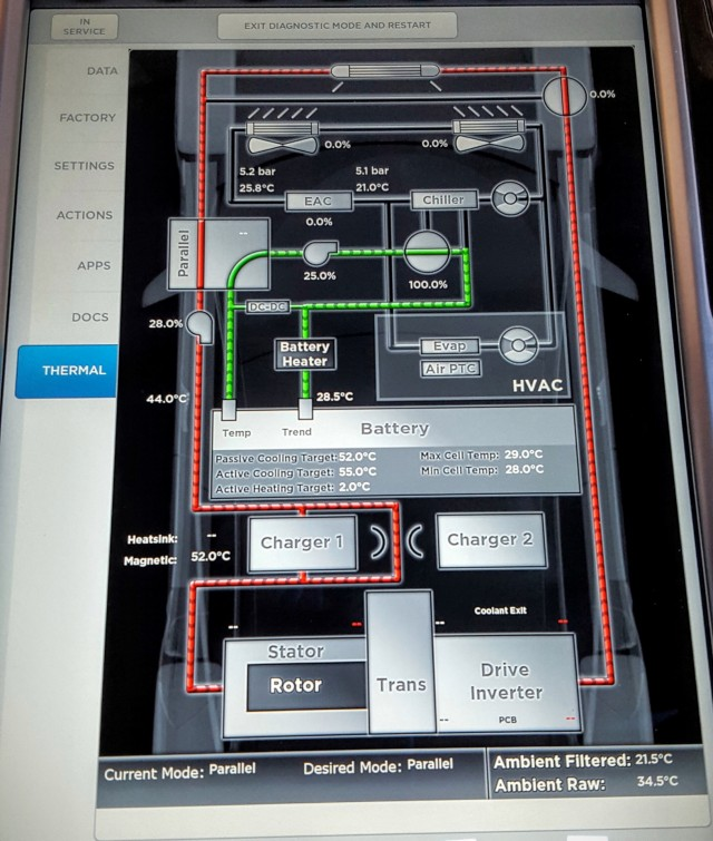 Tesla Model S thermal management screen