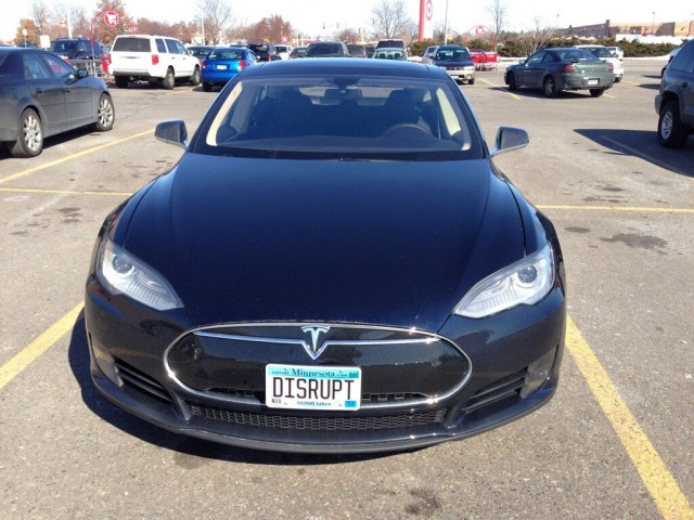 Tesla Model S with DISRUPT license plate, March 2013 [photo: Sam Villella]