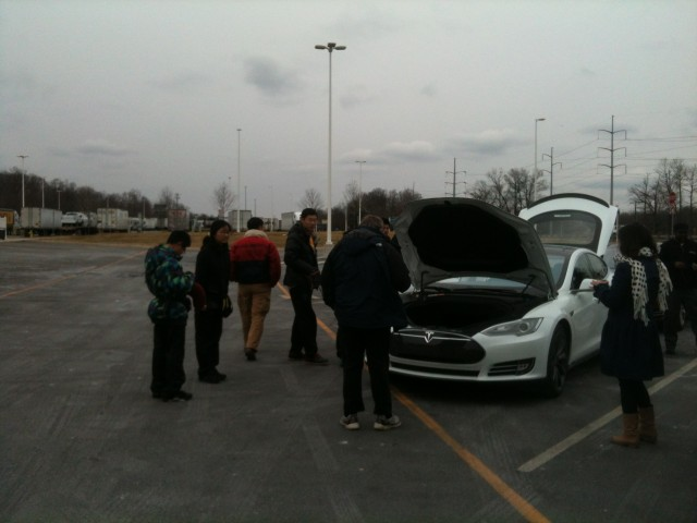 Tesla Road Trip from MD to CT, Feb 2013 - Japanese tourists flock around Tesla Model S
