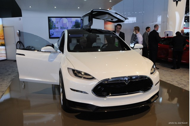 Tesla displayed an interior refresh for their Model X at the 2013 Detroit Auto Show. Photo by Joe Nuxoll.