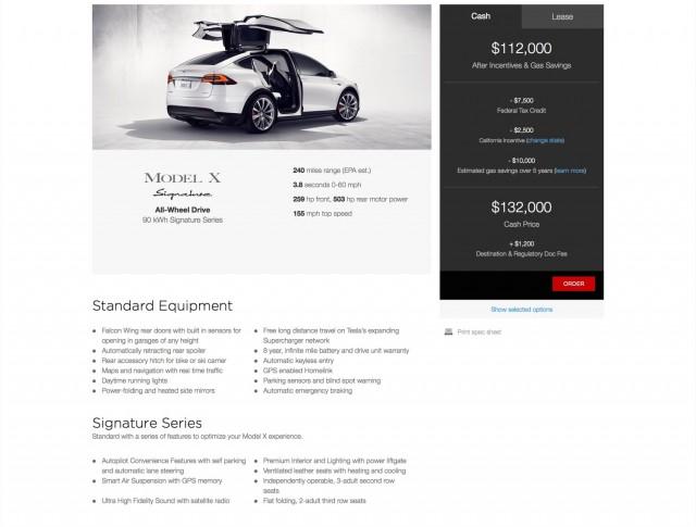 Tesla Model X shown on configurator - Image via Tesla Motors Club