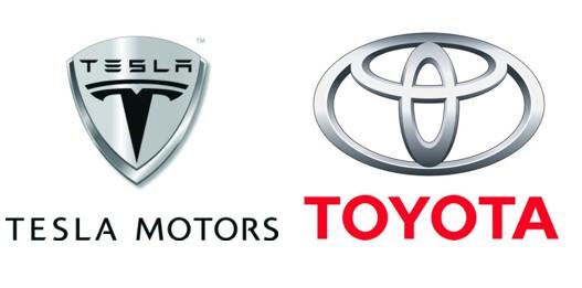 Tesla Motors and Toyota logos
