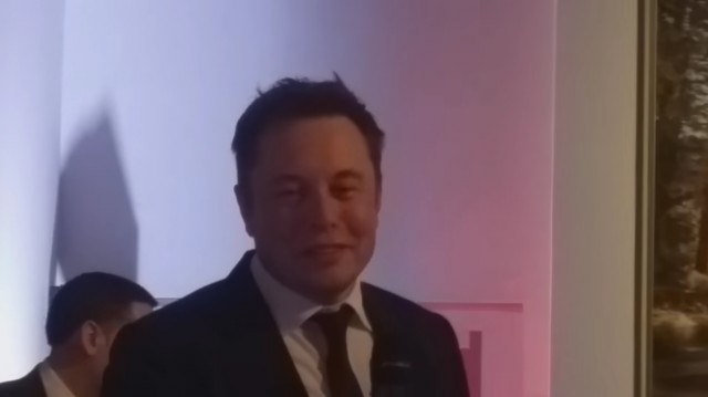 Tesla Motors CEO Elon Musk speaks to Tesla owners in Chambourcy, France, Jan 2016 [YouTube frame]