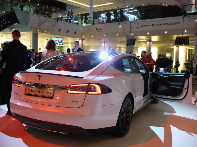 Tesla Store opening in Westfield Mall, London, Oct 2013