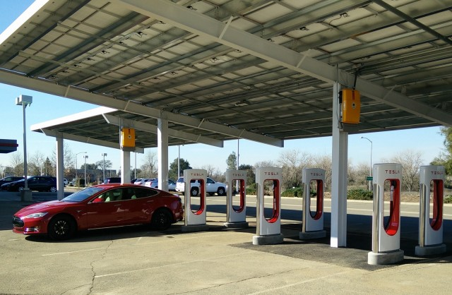 Tesla Supercharger site with photovoltaic solar panels, Rocklin, California, Feb 2015