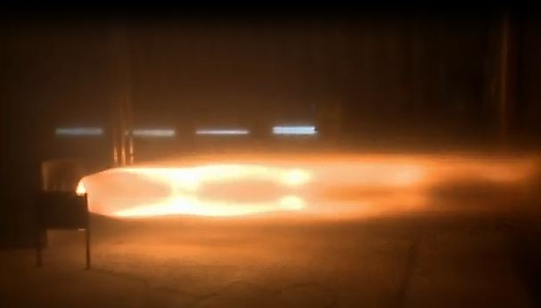 The Bloodhound SSC's rocket engine, undergoing its first test firing