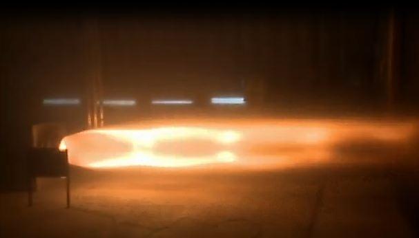 The Bloodhound SSC's rocket engine, undergoing its first test firing
