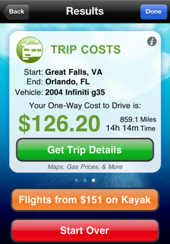 The Cost2Drive app for iPhone. Image: C2G