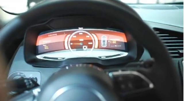 The digital instrument display from the Audi R8 e-tron