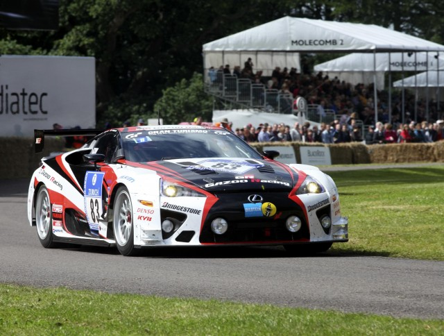The Gazoo Racing Lexus LFA runs up the hill at Goodwood