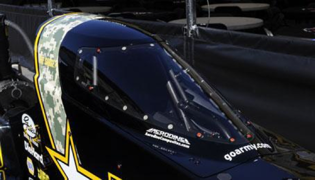 The NHRA-approved cockpit canopy for Top Fuel dragsters