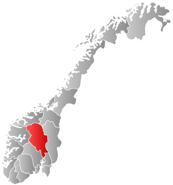 The Oppland region of Norway is highlighted in red. Image via Wikimedia user Marmelad.