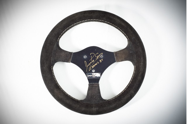 The steering wheel from Aryton Senna's 1984 Toleman TG-183B