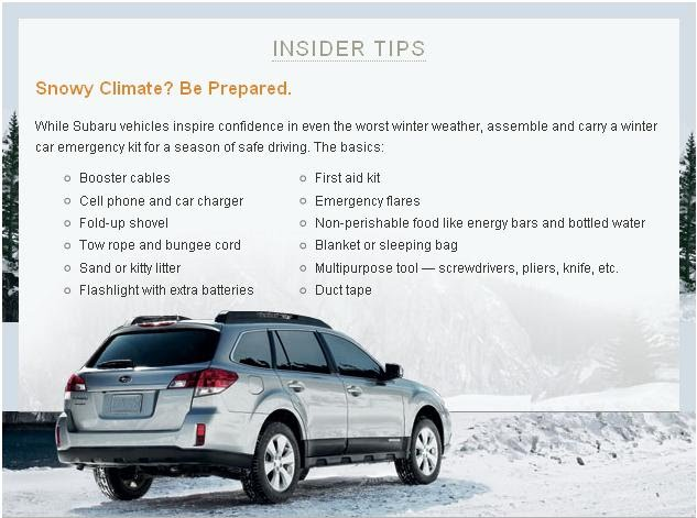 tips from Subaru on being prepared for driving in a snowy climate