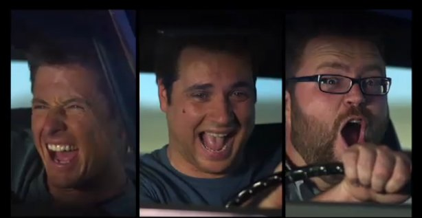 "Top Gear USA hosts mug during ""Donut"" trailer"
